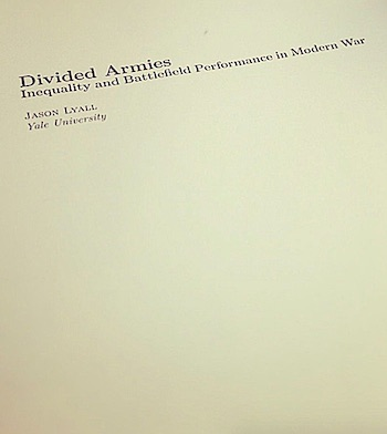 DIVIDED ARMIES: INEQUALITY AND BATTLEFIELD PERFORMANCE IN MODERN WAR